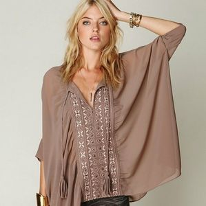 Free People Sheer Taupe Poncho